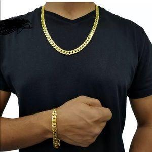 Gold chain necklace & bracelet link cuban rock